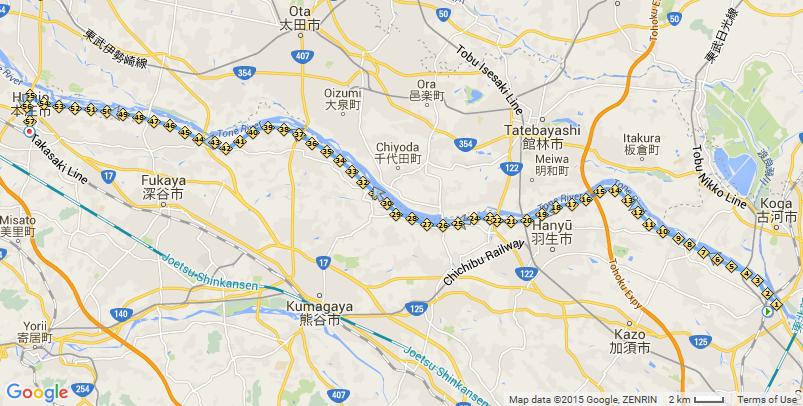 ITM計画その3:利根川サイクリングロードを、栗橋から本庄まで