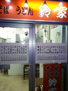 市川駅そばの、ソバ屋さん「鈴家」の入口